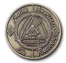 """Native Americans In Recovery""""Healing Hoop"""" AA 12 Step Bronze Coin/Medallion"""