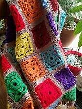 Vintage Granny Square Afghan - colorful, synthetic, free shipping