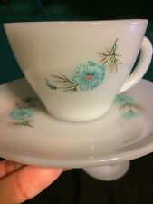 SET OF 4 FIRE KING FIREKING TAYLOR SMITH BOUTONNIERE EVER YOURS CUPS AND SAUCERS