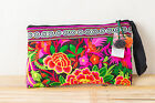 Black Garden Tribal Bag Clutch Style with Hmong Embroidered Thai Boho Bohemian
