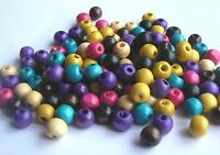 Beads Wooden Rough 9-10mm Rounds Random Mixed Colours x 150 beads approx (40g)