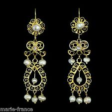 Dynamite Mexican long handmade gold filigree pearls estate dangle earrings M-F