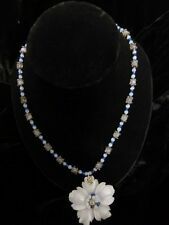 Carved Blue Lace Agate Stone Flower Necklace With Fasted  Crystal Beads