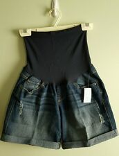 NWT Oh Baby Motherhood Maternity SMALL Denim Shorts JEAN Full Belly Panel 41215