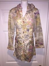 Rodarte for Target Floral Pink Raincoat sz Xs Snap Front Pockets Unlined