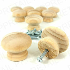 10x PINE 30mm WOODEN DRAWER/DOOR KNOB/HANDLE+ INSERTS & BOLTS Plain Natural Wood