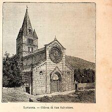 Stampa antica LAVAGNA chiesa San Salvatore Genova Liguria 1898 Old Print