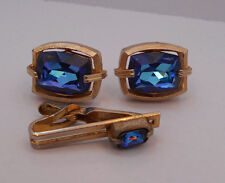 VINTAGE SWANK GOLD TONE WITH BLUE FAUX GEM CUFFLINKS & TIE BAR SET