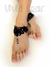 Lace Barefoot Sandals. Black Foot Jewelry. Beach Wedding Anklets. 2 pcs.