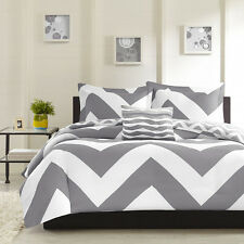 MODERN REVERSIBLE GREY CHEVRON STRIPE COMFORTER SET & PILLOW FULL QUEEN SIZE