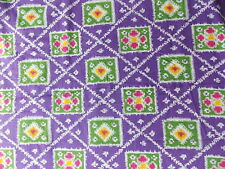 Estate Fabric Vintage Mod Abstract Floral Purple Pink Green Retro Pattern Quilt