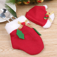 8x Christmas Xmas Dinner Tableware Decor Sliverware Bag Red Gloves