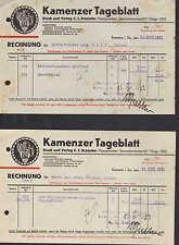 KAMENZ Sa., 2x Rechnung 1931, Kamenzer Tageblatt