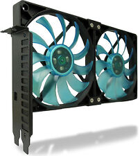 GELID Solutions PCI Slot Fan Holder VGA Cooler With Two Slim 120mm UV Blue Fans
