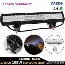17inch 108W Spot Flood Combo CREE LED Work Light Bar Offroad 4WD SUV UTE Lamp