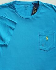 NEW POLO RALPH LAUREN BLUE SHORT SLEEVE POCKET T-SHIRT size MEDIUM msrp $39.50