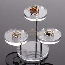 Jewelry Rack Bracelet Necklace Stand Organizer Holder Display Round Acrylic Tray