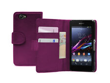 Wallet MAGENTA Leather Flip Case Cover Pouch For Sony Xperia Z1 Compact experia