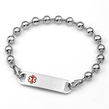 Womens Medical ID Stainless 6mm  Bead Bracelet with ID Tag - 7 1/2 inch - AA1002