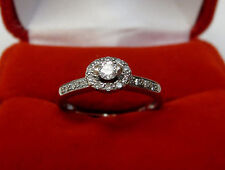Small Real Diamond Halo Engagement Promise Ring Solid 10k White Gold Sz 5.75