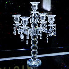 5 Arm Crystal Cut  Pillar Candle Holders Candelabra Candlestick Wedding Decor