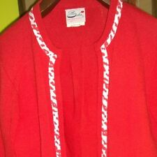 Elegant Vintage Red Cardigan Sweater Womens Medium Cow Print Trim Made in USA