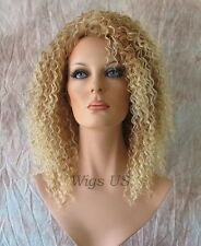 Partial Wig Strawberry Blonde Mix Small Curls Past Shoulder Combs 3/4 Wigs US