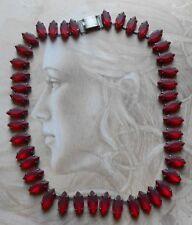 Superbe collier ancien Art Deco pierres navettes rouge rubis