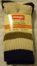 Wrangler Boys Socks Shoe Sz L 3-9 Crew Outdoors Khaki 2-Pairs New