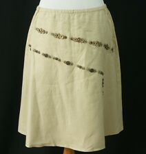 J Jill Womens Linen Skirt MP NWT Coconut Buttons Lined Medium Petite New