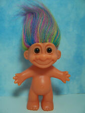 "ORANGE GLO TROLL WITH RAINBOW COLORED HAIR - 5"" Russ Troll Doll - EXCELLENT"