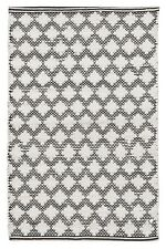 100% Cotton Geometric Geo Moroccan Art Deco Style Black White Diamond Rug NEW