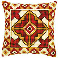 "Red & Beige Chunky Cross Stitch Cushion front kit 16x16"" tapestry canvas"