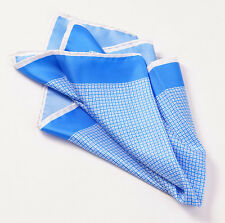 New $215 KITON NAPOLI Medium Blue-White Small Printed Pattern Silk Pocket Square