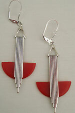 ELEGANT VINTAGE ART DECO 'ODEONESQUE' CHERRY RED BAKELITE EARRINGS