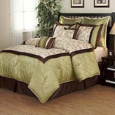 BEAUTIFUL 8PC SAGE GREEN IVORY FLORAL LEAF BROWN COMFORTER SET KING & QUEEN SZS