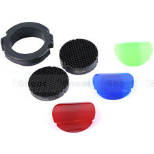 25°+45° Honeycomb Grid+3 Color Filter for Snoot Flash Softbox Diffuser Reflector