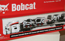 Norscot 1/50 Scale Peterbilt 379 Tractor W/ Flatbed Trailer & BobCat Equipment