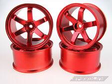 RC Drift Car 1/10 SPEEDLINE 2.2 Wheel Rims Chrome-Red 6 Spoke Off3 4pcs 56x28mm