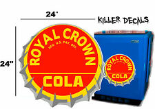 "24""  RC ROYAL CROWN COLA BOTTLE CAP DECAL COOLERS SODA POP MACHINE SIGN STYLE 2"
