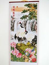 CHINESE BAMBOO WALL HANGING SCROLL PICTURE CRANE PINE PEONY NEW YEAR PARTY 9-5