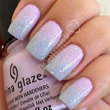 20 Hand Painted False Nails + Glue - Square - Pink Blue Ombre Glitter SALE