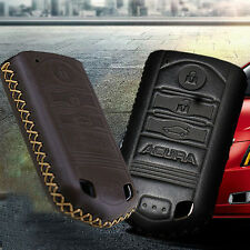 New Black Leather Remote Key Fob Case Holder Cover For Acura 3 Buttons