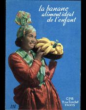 """Publicité """"BANANE"""" / FEMME ANTILLAISE & RECETTE """"BANANE au LAIT"""" période 1960"""
