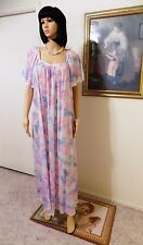 LUCIE ANN vintage Short Bell Sleeves Nylon nightgown PASTEL FLORAL size L large