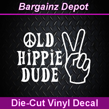 "..Vinyl Decal... OLD HIPPIE DUDE ...Nice size 6"" x 4.5"" Car Laptop Decal Sticker"