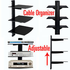 3 Tier Dual Glass Shelf Wall Mount Bracket Under TV Component Cable DVR/DVD