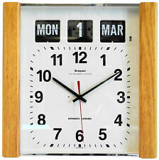 Grayson Lightwood Panel Calendar Clock Day Date Month White - G239WL