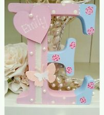 Shabby personalised girls handpainted roses wooden letter/name sign freestanding