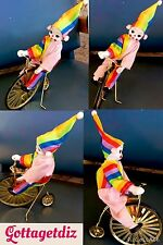 VINTAGE  Bisque Poseable Clown on a Large Wheel Bike Bicycle